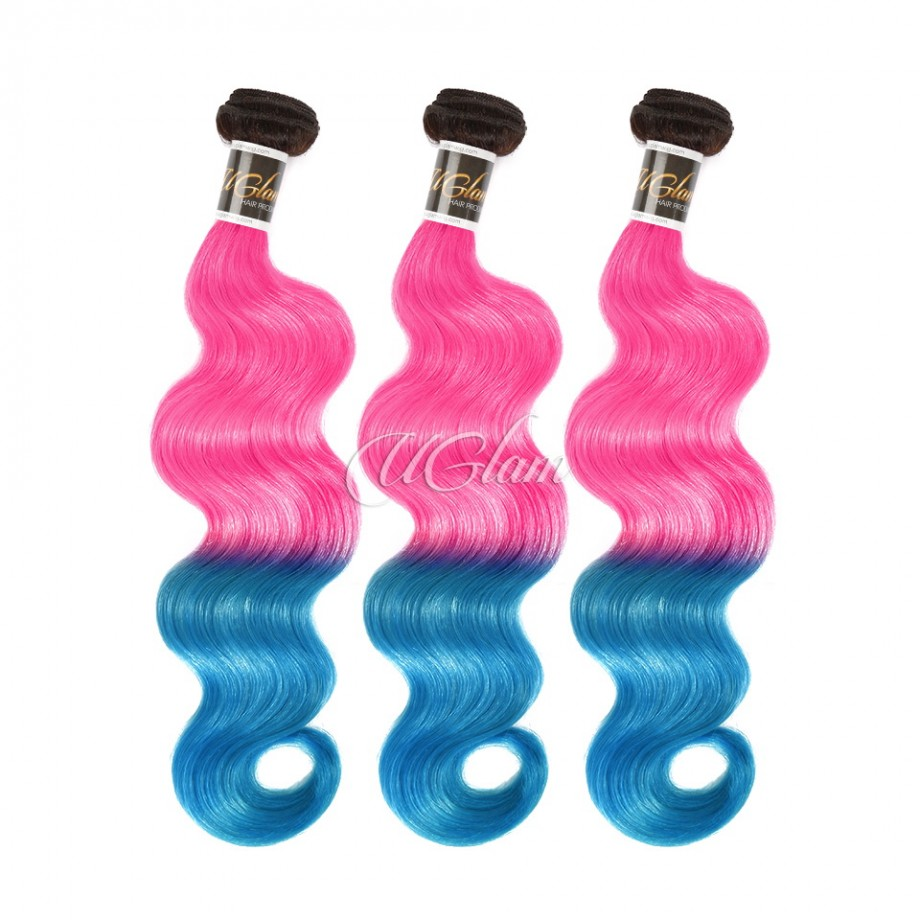 Uglam Hair 1B Ombre Pink and Blue Color Body Wave Bundles Deal