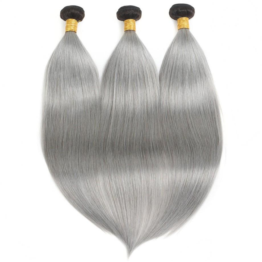 Uglam Straight Ombre Hair Black Root Sliver Grey hair Bundles Deal