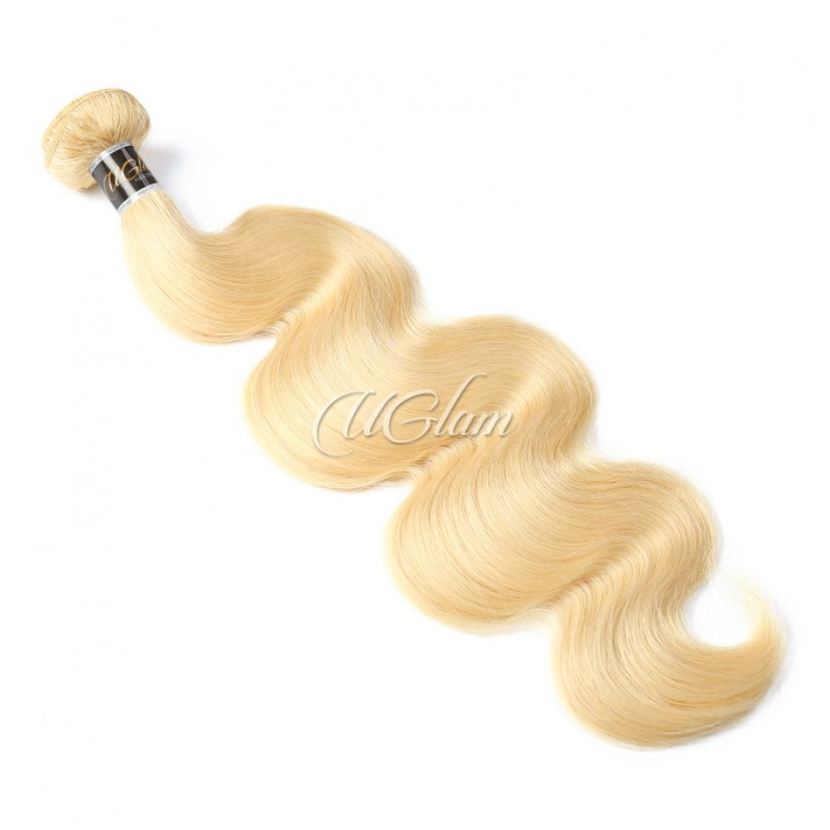 Uglam Hair Bundles With 13x4 Lace Frontal Closure Honey Blonde #613 Color Body Wave