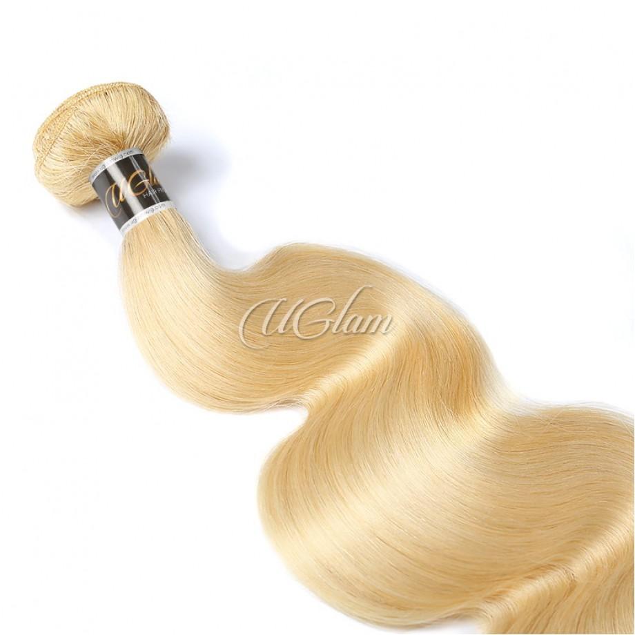 Uglam Bundles With 5x5 Lace Closure Honey Blonde #613 Color Body Wave