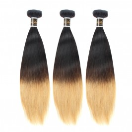 Uglam Ombre Hair Black And Blonde #613 Color Straight Bundles Deal