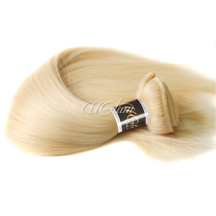 Uglam Bundles With 13x4 Lace Frontal Closure Honey Blonde #613 Color Straight