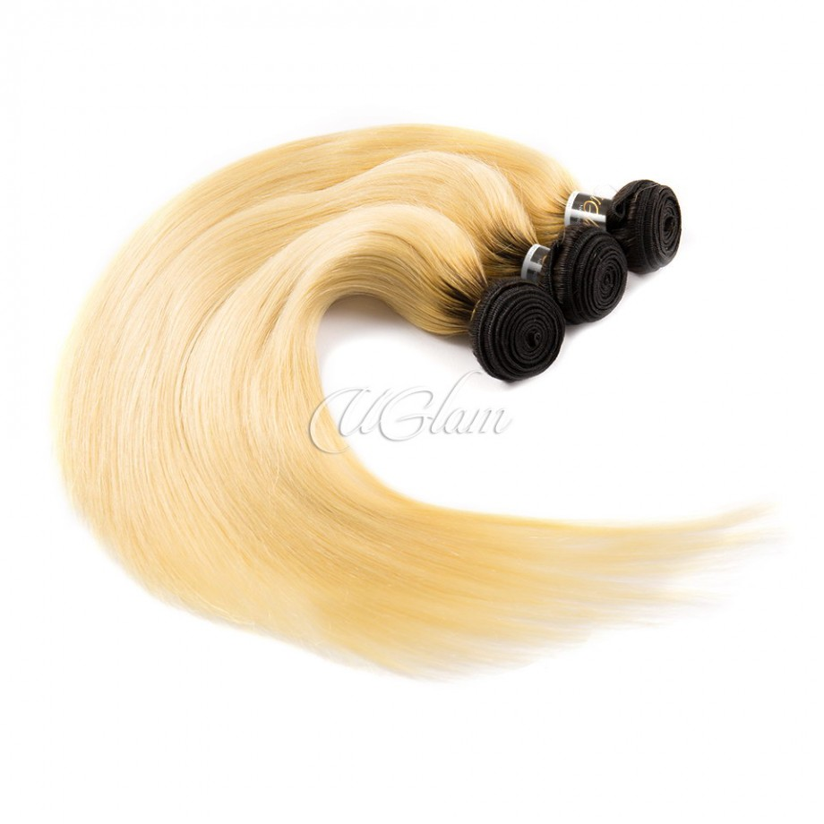 Uglam Hair Ombre Hair Black And #613 Color Straight Bundles Deal