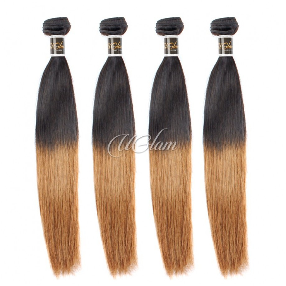 Uglam Hair Ombre Hair Black And Brown Color Straight Bundles Deal