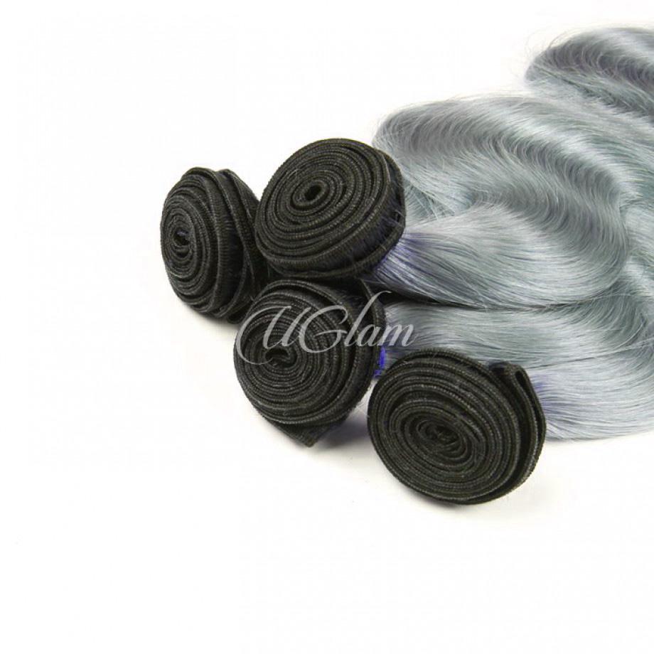 Uglam Ombre Hair Black Root Sliver Grey hair Bundles Deal