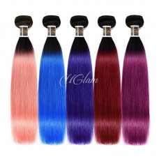 Uglam Hair 1B Pink/Blue/Sapphire/Burgundy/Purple Straight Bundles Deal