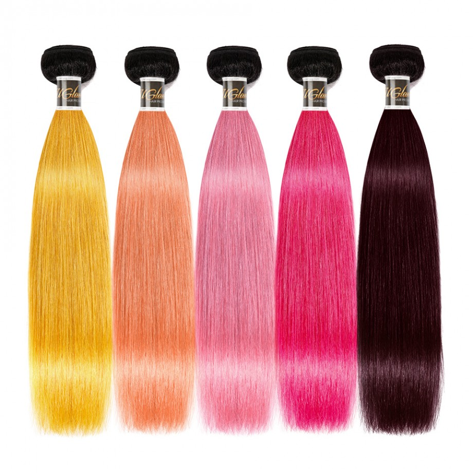 Uglam 1B Yellow/Coral/Pink/Rosy/99J Straight Bundles Deal