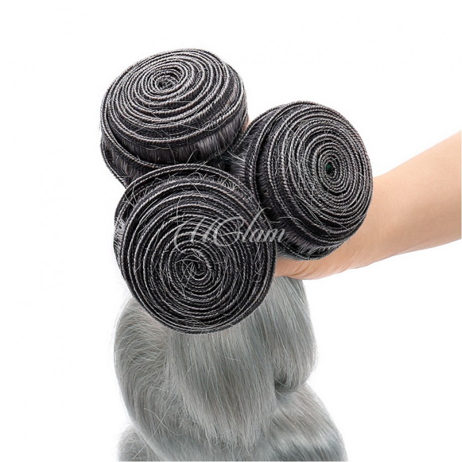 Uglam Hair Green Gray Color Body Wave Bundles Deal