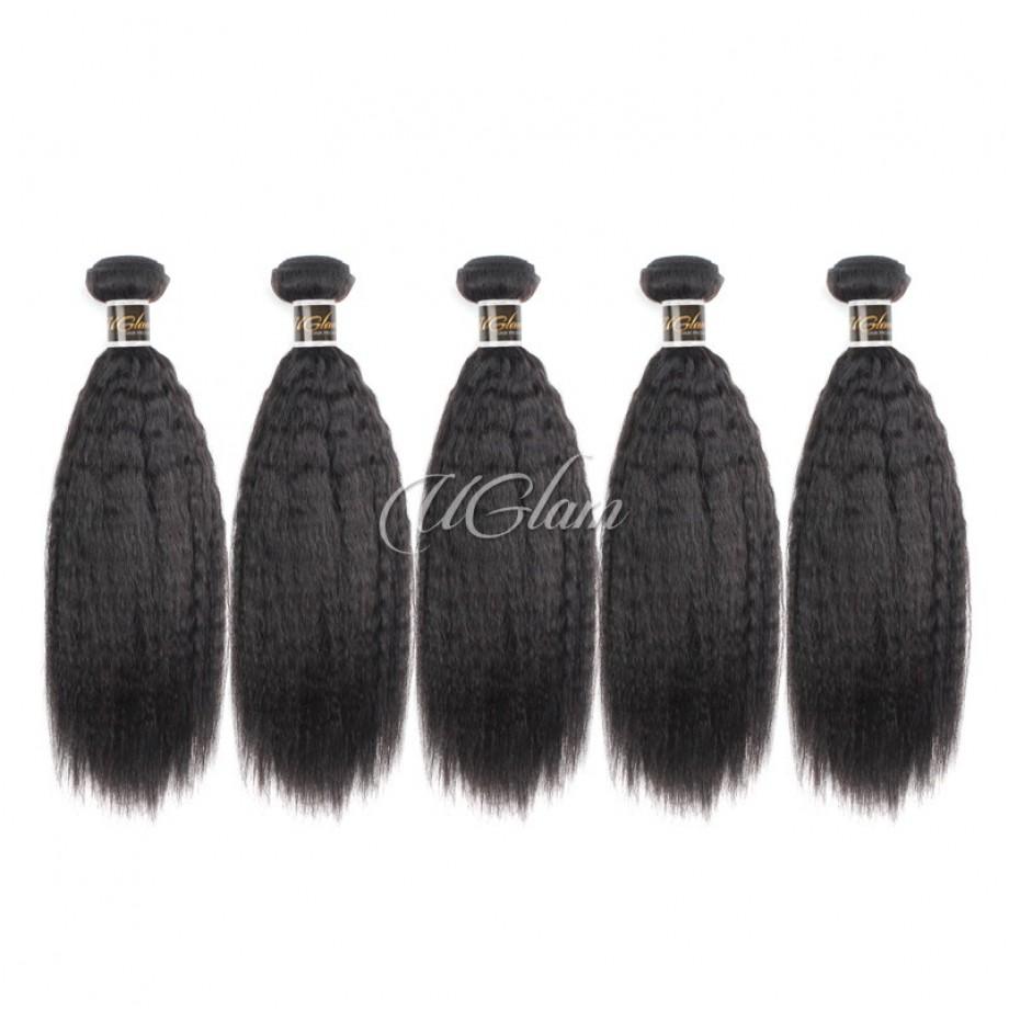 Uglam Hair Peruvian Kinky Straight 3pcs/4pcs Bundles Deal