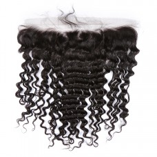 Uglam 13X4 Deep Wave Curly HD/Transparent/Medium Brown Lace Frontal