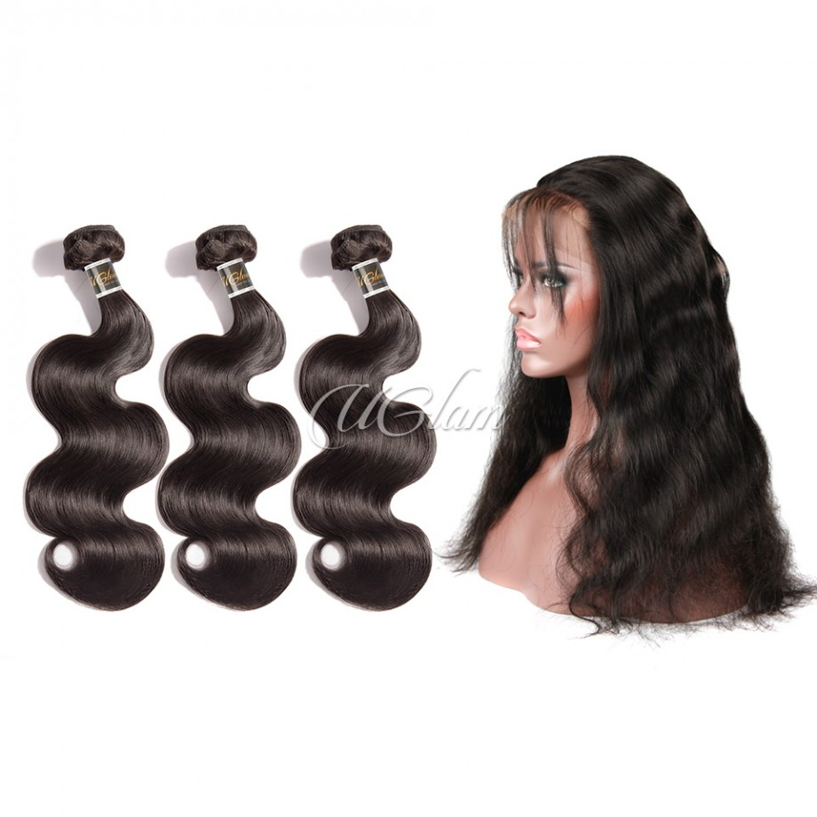 Uglam Hair 360 Lace Front Closure With Bundles Brazilian Body Wave Sexy Formula