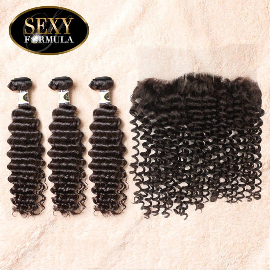 Uglam Hair 360 Lace Front Closure With Bundles Peruvian Deep Wave Curly Sexy Formula