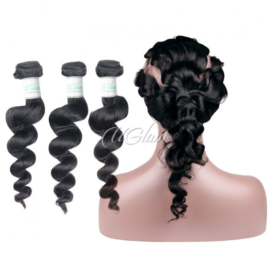 Uglam Hair 360 Lace Front Closure With Bundles Indian Loose Wave Sexy Formula
