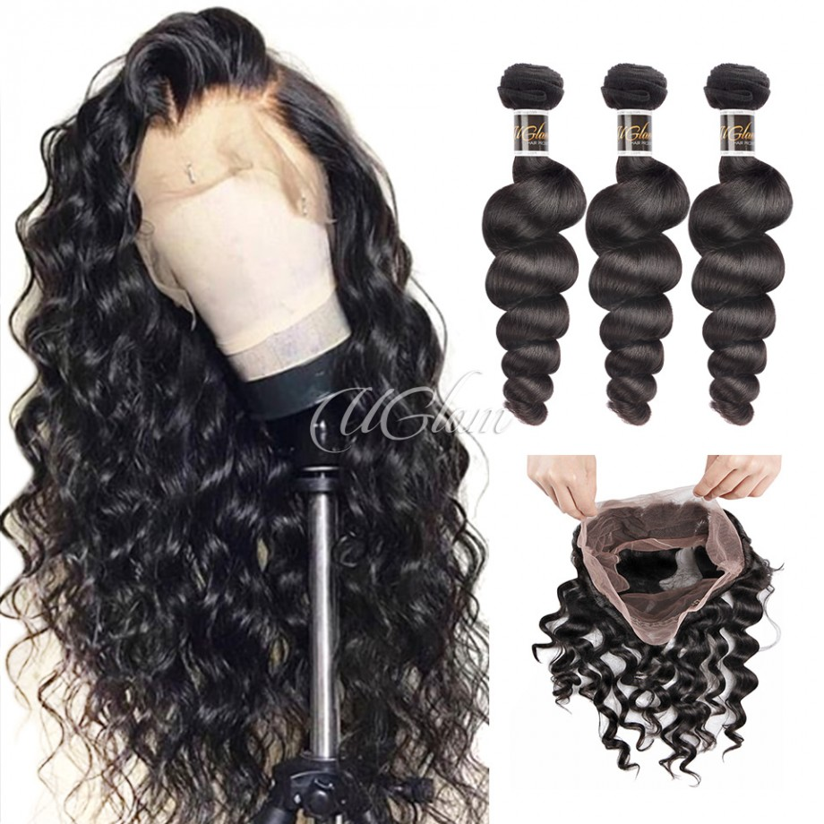 Uglam 360 Lace Front Closure With Bundles Malaysian Loose Wave Sexy Formula