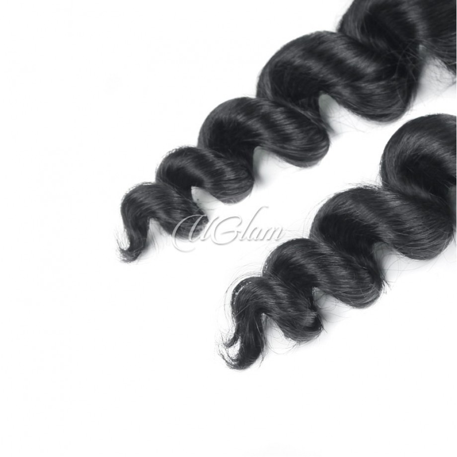 Uglam Hair 360 Lace Front Closure With Bundles Peruvian Loose Wave Sexy Formula