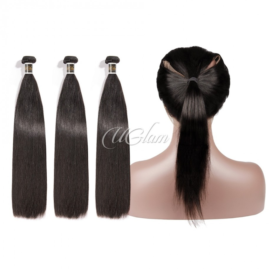 Uglam Hair 360 Lace Front Closure With Bundles Brazilian Straight Sexy Formula