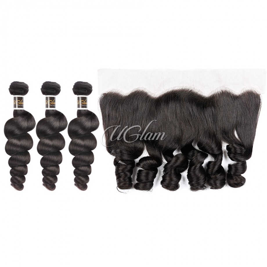 Uglam Hair 4x13 Lace Front Closure With Bundles Brazilian Loose Wave Sexy Formula