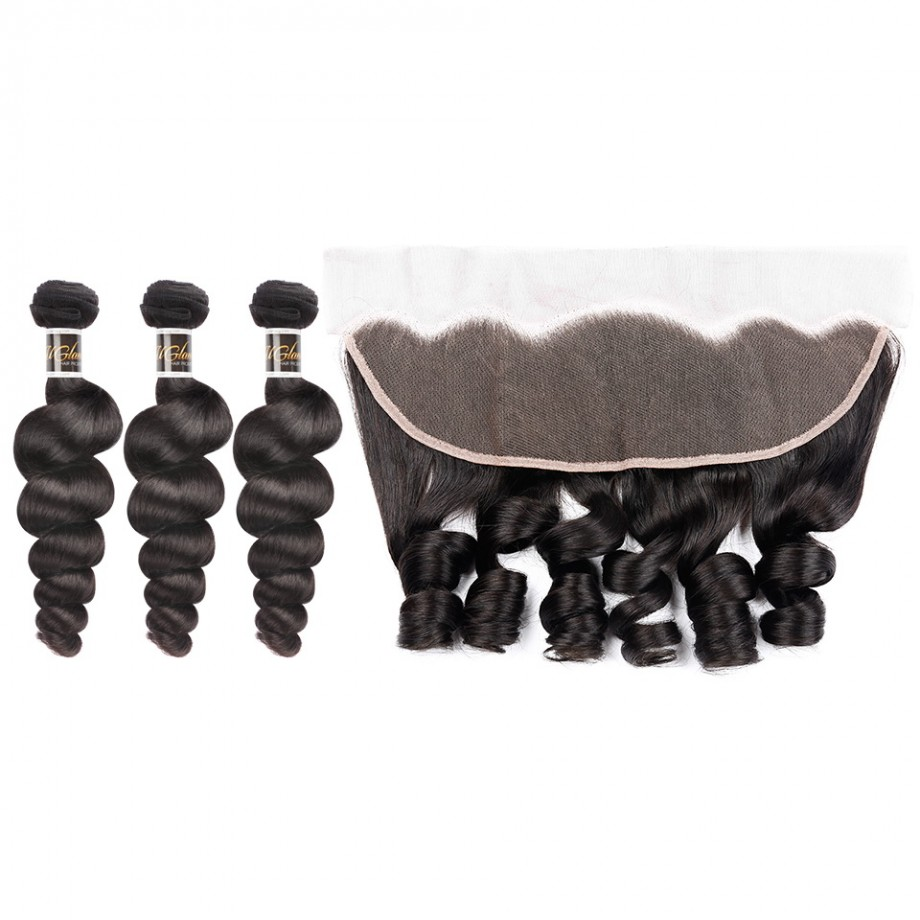 Uglam 13x4 Lace Front With Bundles Loose Wave