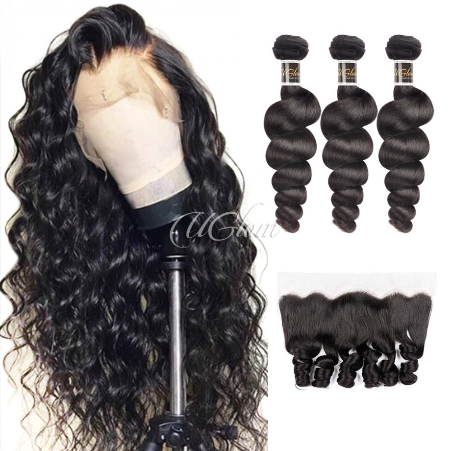Uglam Hair 4x13 Lace Front Closure With Bundles Malaysian Loose Wave Sexy Formula