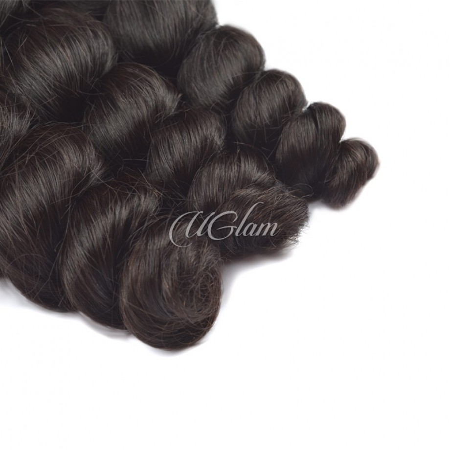 Uglam Hair 4x13 Lace Front Closure With Bundles Peruvian Loose Wave Sexy Formula