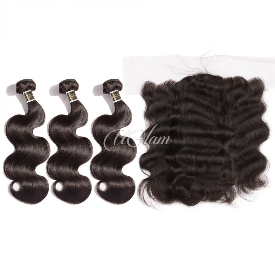 Uglam Hair 4x13 Lace Front Closure With Bundles Indian Body Wave Sexy Formula