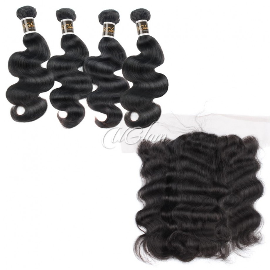 Uglam Hair 13x4 Lace Front Closure With Bundles Peruvian Body Wave Sexy Formula