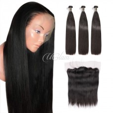 Uglam Hair 4x13 Lace Front Closure With Bundles Indian Straight Sexy Formula