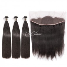 Uglam Hair 4x13 Lace Front Closure With Bundles Peruvian Straight Sexy Formula
