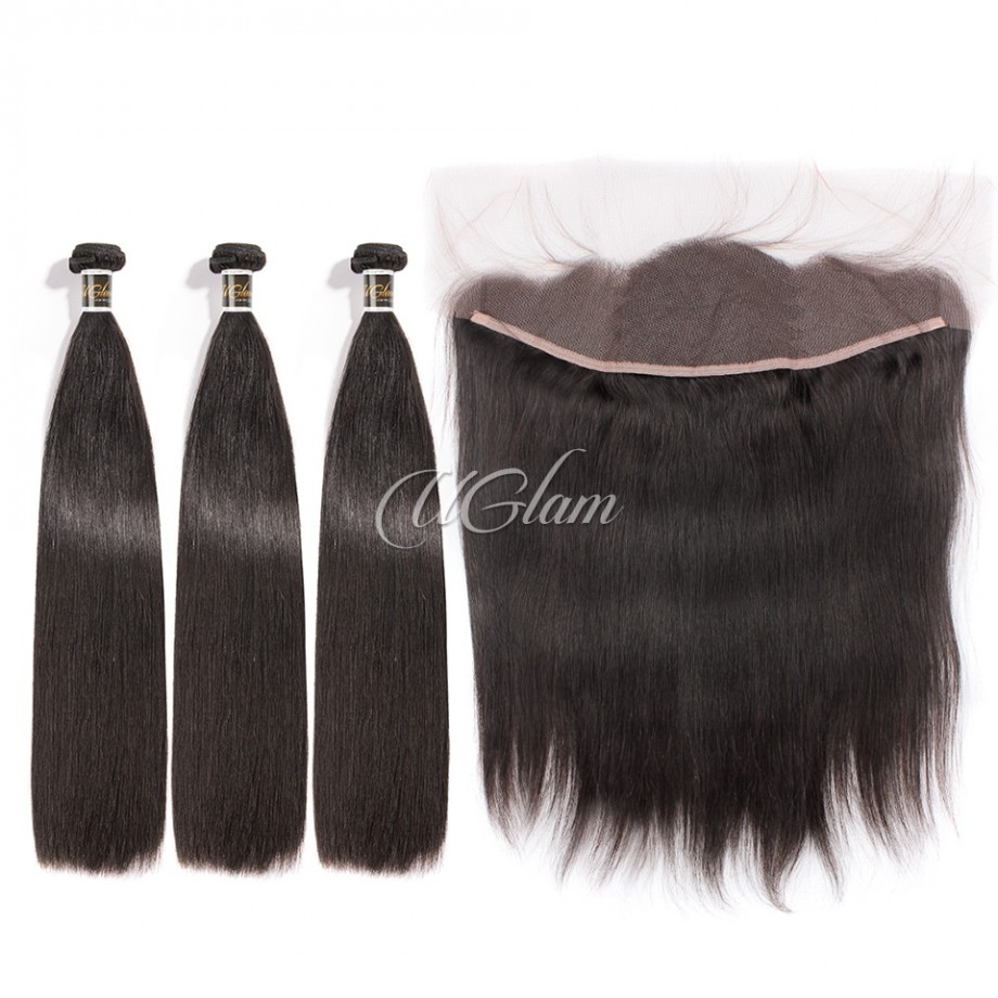 Uglam Hair 13x4 Lace Front Closure With Bundles Peruvian Straight Sexy Formula
