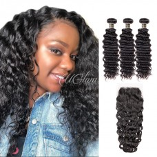 Uglam 4x4 Lace Closure With Bundles Brazilian Nature Wave Sexy Formula