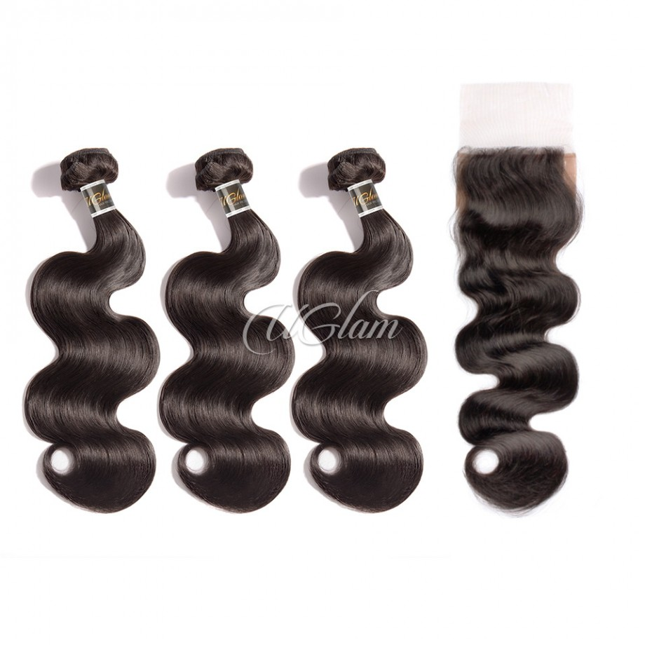 Uglam Hair 4x4 Silk Base Closure With Bundles Malaysian Body Wave Sexy Formula