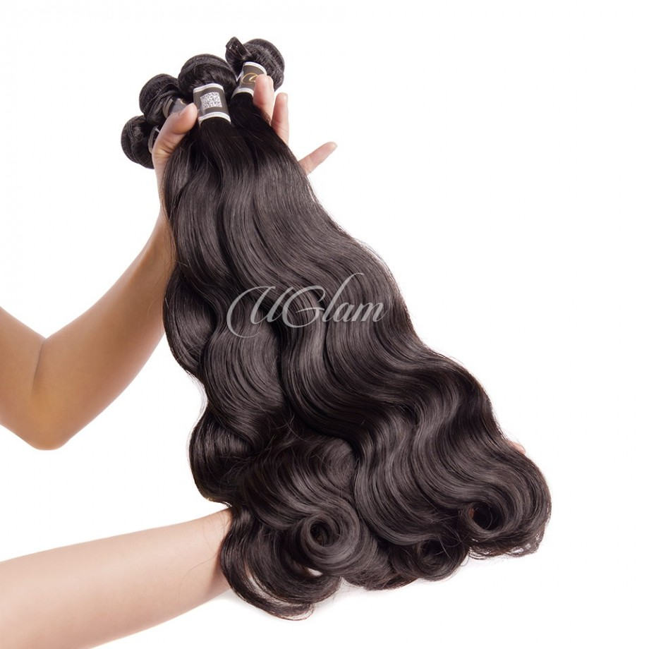 Uglam Hair 4x4 Silk Base Closure With Bundles Peruvian Body Wave Sexy Formula