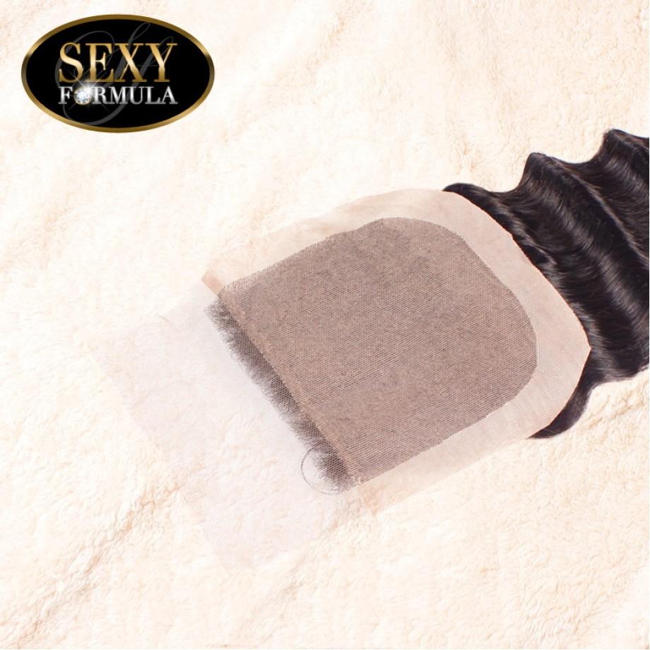 Uglam Hair 4x4 Silk Base Closure With Bundles Indian Deep Wave Curly Sexy Formula
