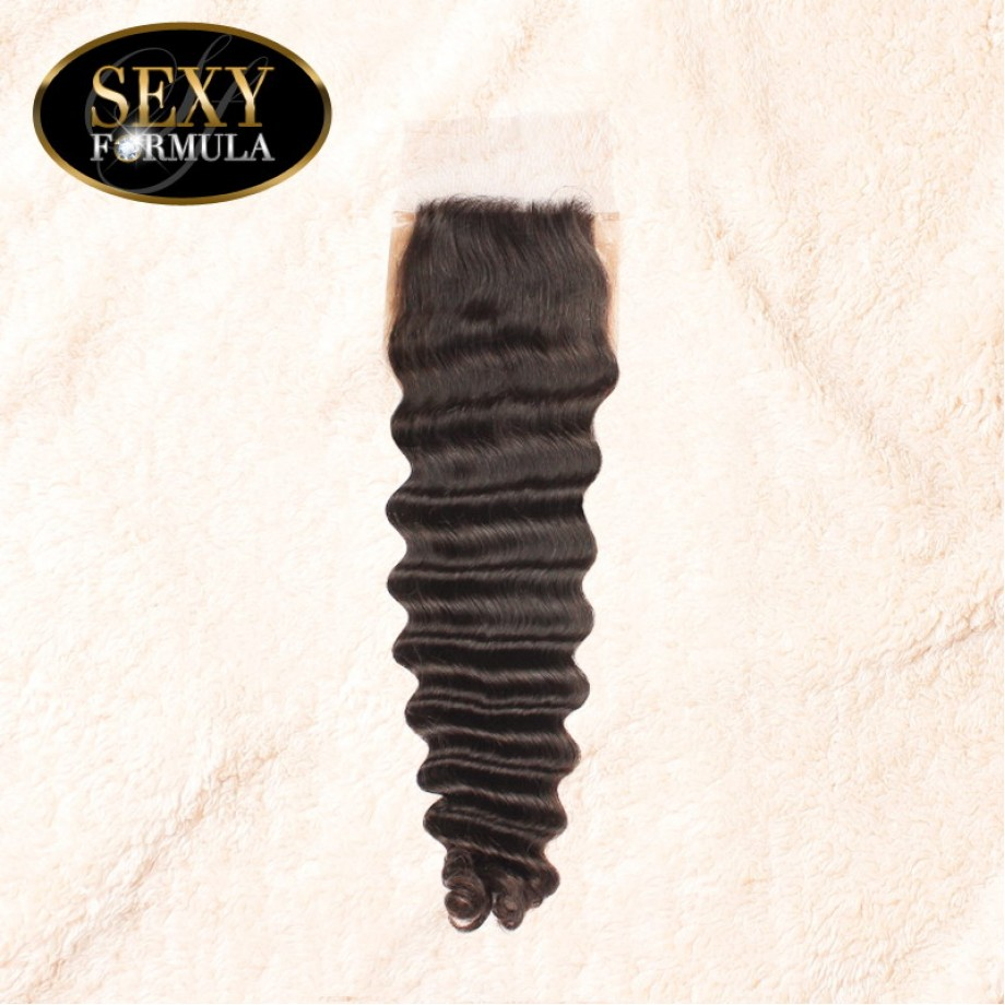 Uglam 4x4 Silk Base Closure With Bundles Malaysian Deep Wave Curly Sexy Formula