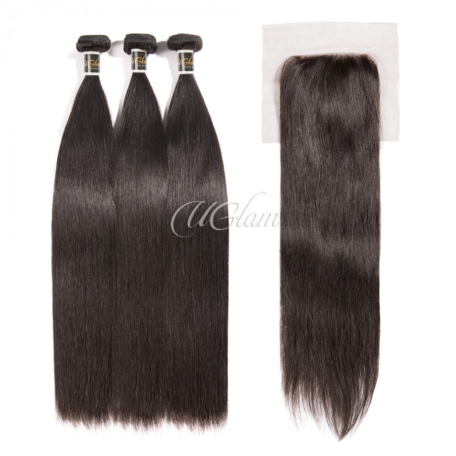 Uglam Hair 4x4 Lace Closure With Bundles Malaysian Straight Sexy Formula
