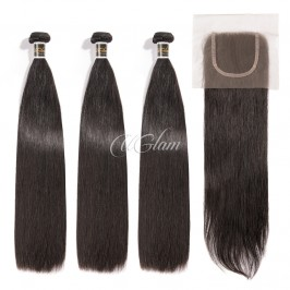 Uglam Hair 4x4 Lace Closure With Bundles Peruvian Straight Sexy Formula