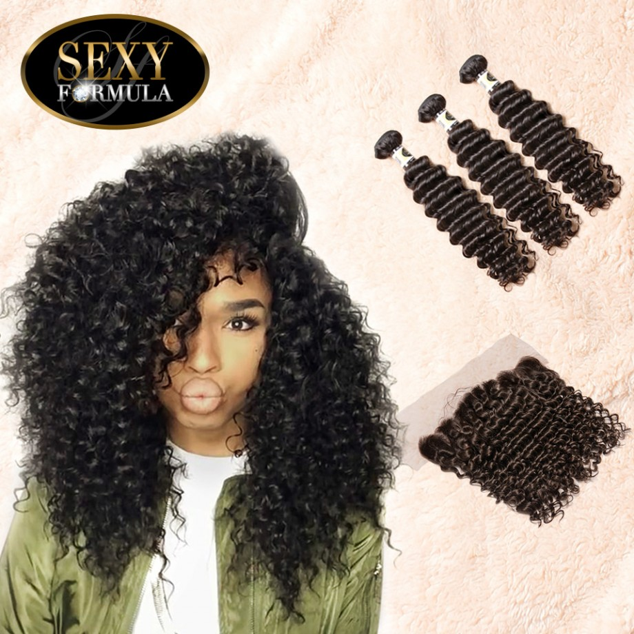 Uglam Hair 13x4 Lace Front Closure With Bundles Malaysian Deep Wave Curly Sexy Formula