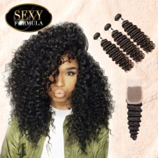 Uglam Hair 4x4 Lace Closure With Bundles Malaysian Deep Wave Curly Sexy Formula