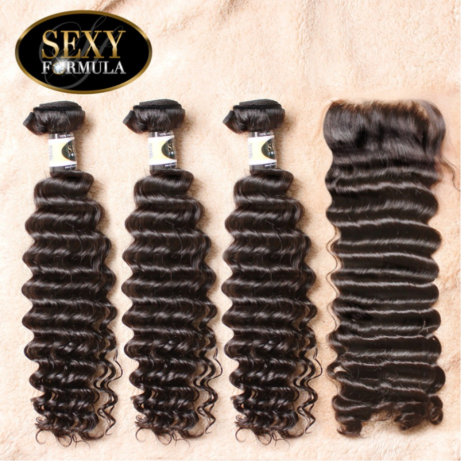 Uglam Hair 4x4 Lace Closure With Bundles Brazilian Deep Wave Curly Sexy Formula