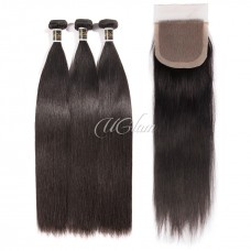 Uglam Hair 4x4 Silk Base Closure With Bundles Brazilian Straight Sexy Formula