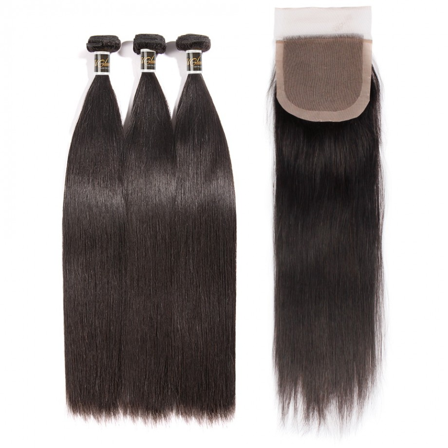 Uglam 4x4 Silk Base Closure With Bundles Straight