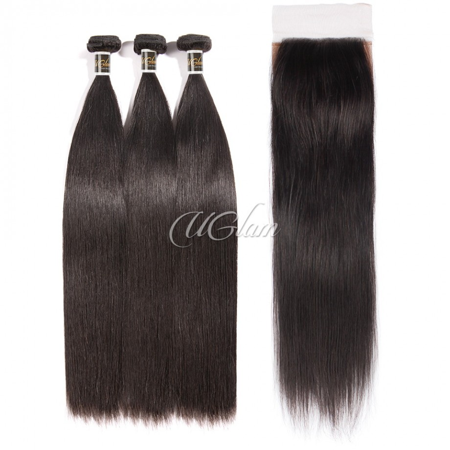 Uglam Hair 4x4 Silk Base Closure With Bundles Indian Straight Sexy Formula