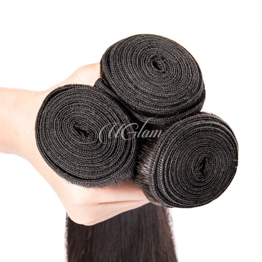 Uglam Hair 4x4 Silk Base Closure With Bundles Malaysian Straight Sexy Formula