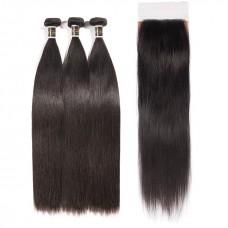 Uglam Hair 4x4 Silk Base Closure With Bundles Peruvian Straight Sexy Formula