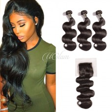 Uglam Hair 4x4 Lace Closure With Bundles Brazilian Body Wave Sexy Formula