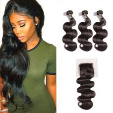 Uglam 4x4 Lace Closure With Bundles Body Wave Sexy Formula