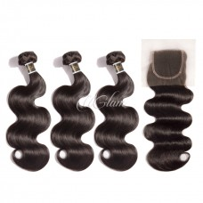 Uglam Hair 4x4 Lace Closure With Bundles Peruvian Body Wave Sexy Formula