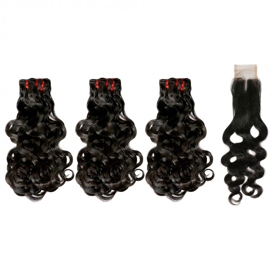 Uglam Double Drawn Bundles With 2X4 Lace Closure Body Wave