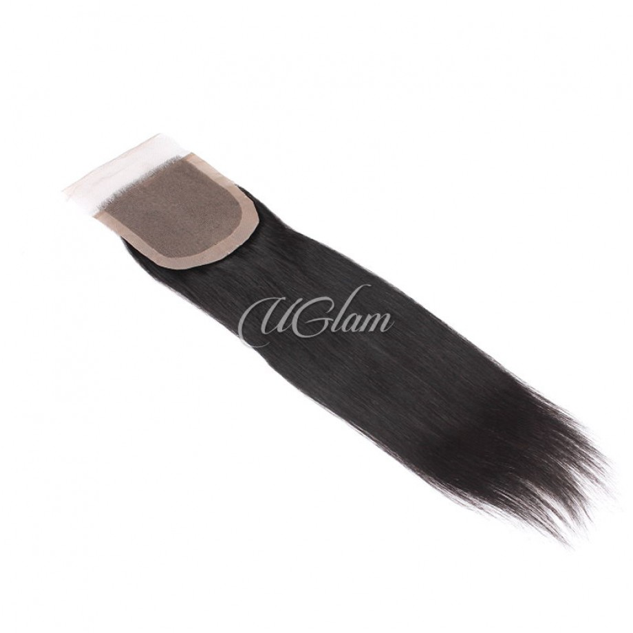 Uglam Hair 4x4 Silk Base Closure Peruvian Straight Sexy Formula