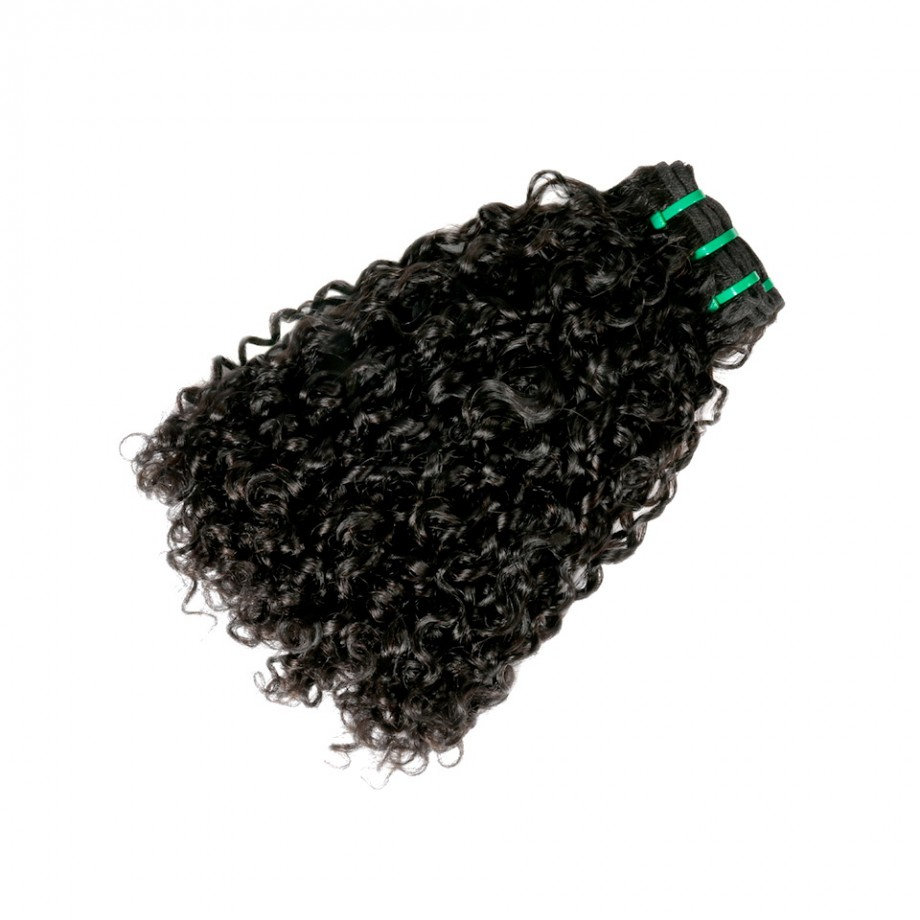 Uglam Double Drawn Bundles With 4X4 Lace Closure Pissy A Curly